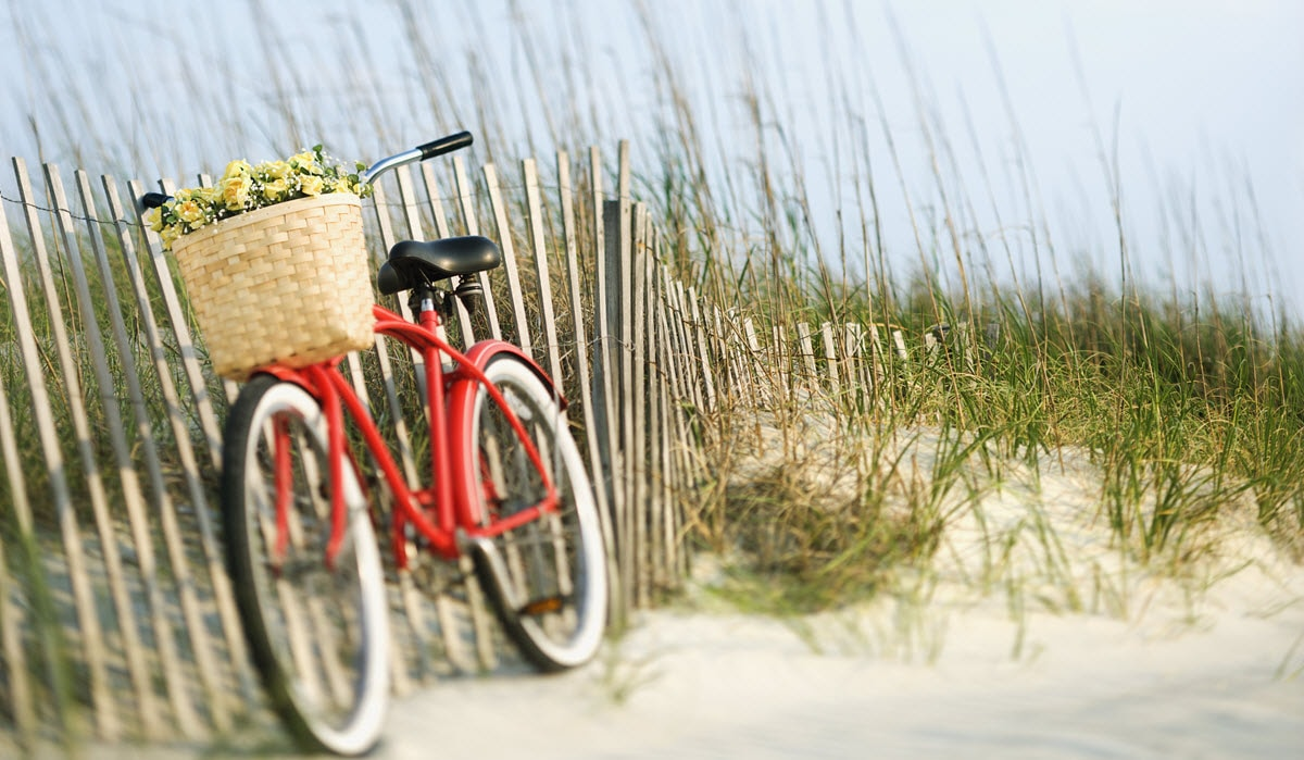 Outer banks red beach cruiser bicycle